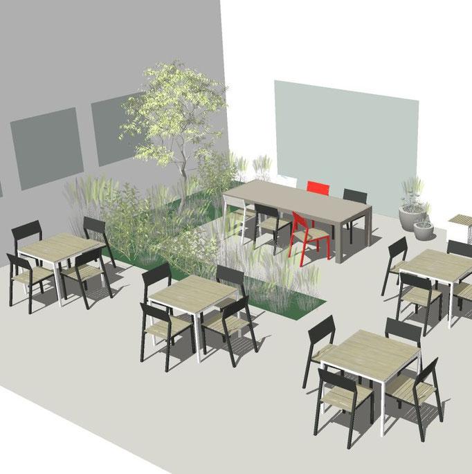 Überdachung an einem Restaurant visualisiert