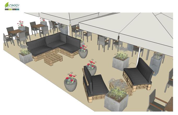 Restaurant Terrasse 3 D dargestellt
