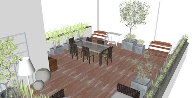 Holzterrasse mit Möbeln 3D