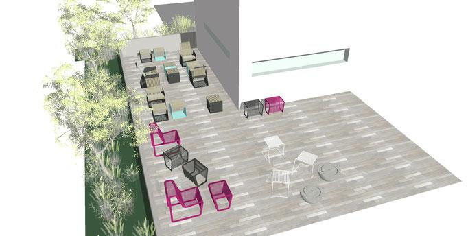 Egoe Möbel auf einer Außenterrasse Restaurant