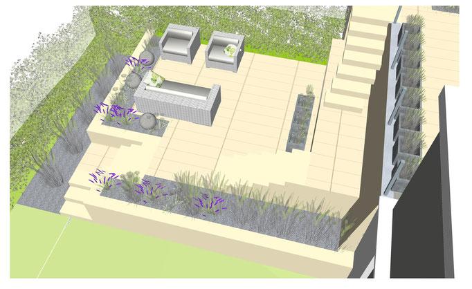 Garten mit Plattenbelag und einer Terrassenüberdachung