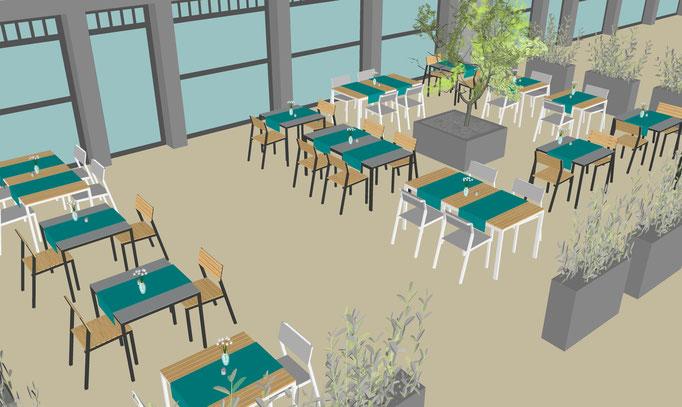 Außenterrasse einer Bäckerei in 3D visualisiert