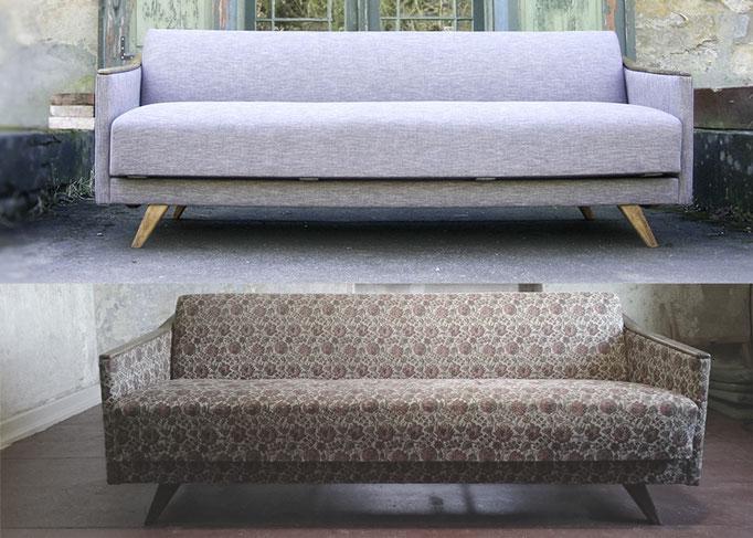 Sofa vor der Aufarbeitung (unten) und neu (oben)