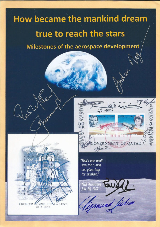 First cover of the exhibition collection orig. signed by Alexej Leonow, Reinhold Ewald, Sigmund Jähn, Paulo Nespoli and Andreas Mogensen
