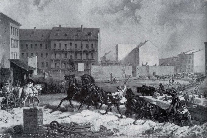 Bau der Mietskasernen, Gemälde von Friedrich Kaiser, https://upload.wikimedia.org/wikipedia/commons/8/83/Tempo_der_gruenderzeit.jpg
