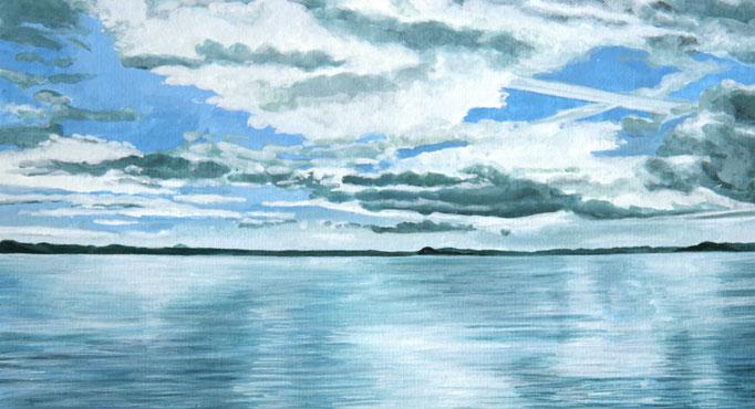 <b>Lago di Bolsena 3</b><br>Gouache/Papier | 2018 | 14,9 x 27,1 cm