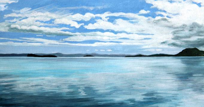 <b>Lago di Bolsena 2</b><br>Gouache/Papier | 2018 | 14,5 x 27,5 cm