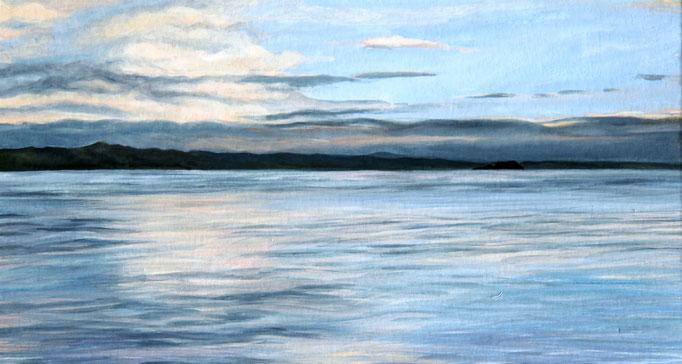 <b>Lago di Bolsena 1</b><br>Gouache/Papier | 2018 | 14,5 x 27,1 cm