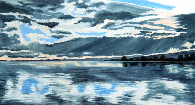 <b>Lago di Bolsena 5</b><br>Gouache/Papier | 2018 | 14,4 x 26,6 cm<br><small>(Privatbesitz)