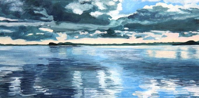 <b>Lago di Bolsena 4</b><br>Gouache/Papier | 2018 | 13,4 x 26,7 cm