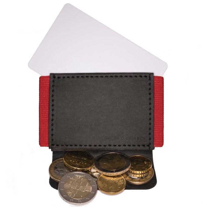 slim wallet Kreditkartenetui mit Münzfach schwarz/rot