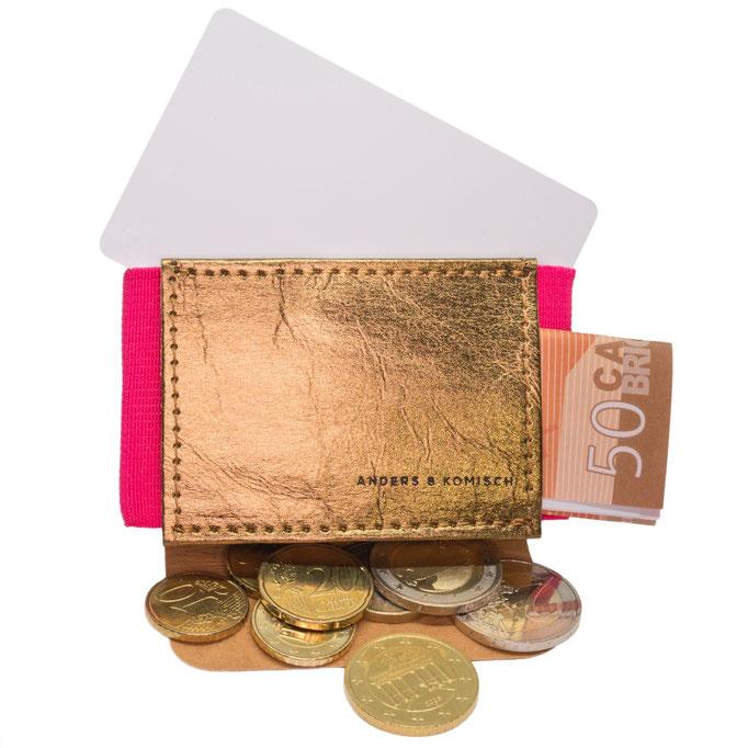 Mini Portemonnaie Gold/Pink für die Reise