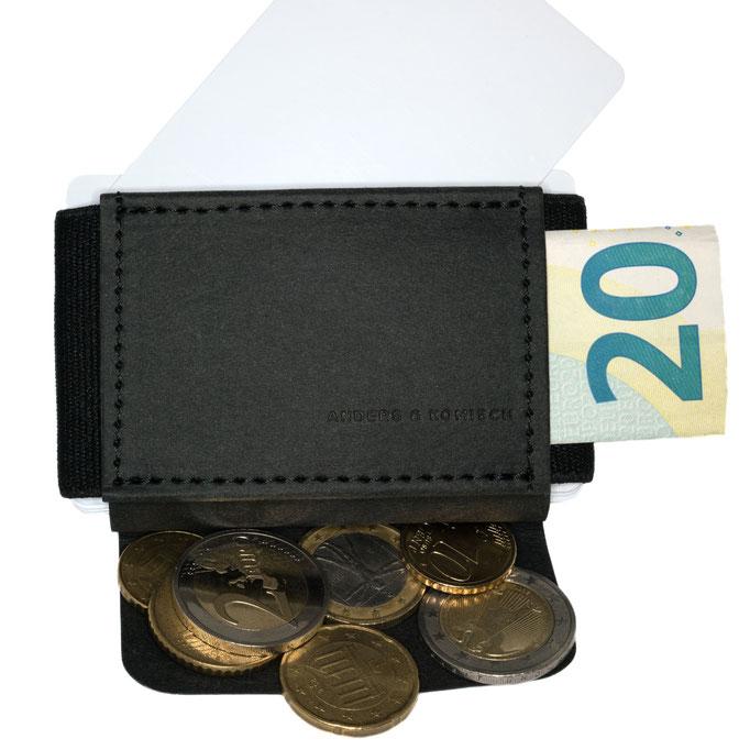 Kleines Portemonnaie mit Münzfach für Herren und Damen schwarz/schwarz