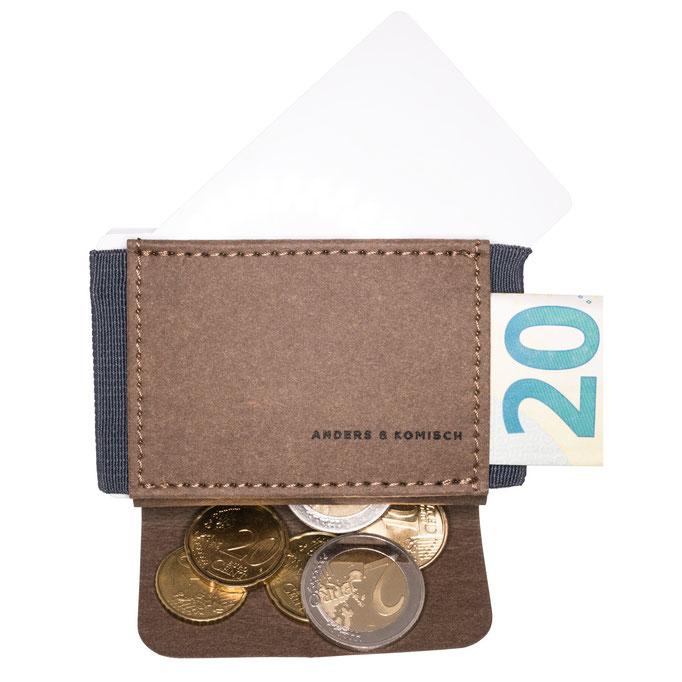 Kleiner Geldbeutel für Kreditkarten, Scheine und Münzen braun/grau
