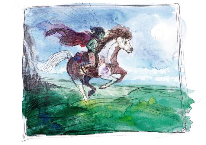 Atréju macht sich mit seinem Pferdchen Artax auf die Reise