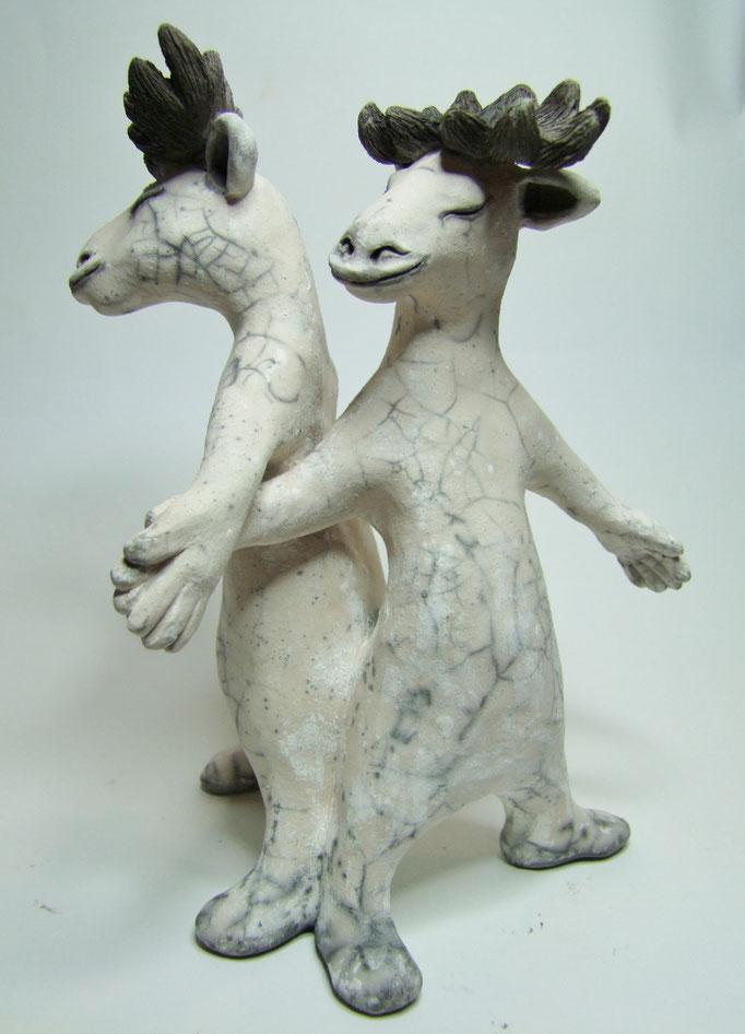 statue de cerfs en céramique