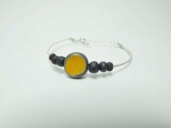 Bracelet céramique raku perle jaune