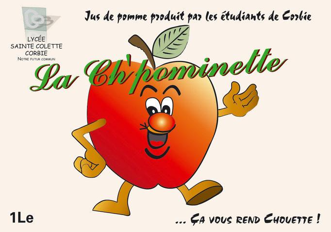 étiquette pour du jus de Pomme produit par des étudiants