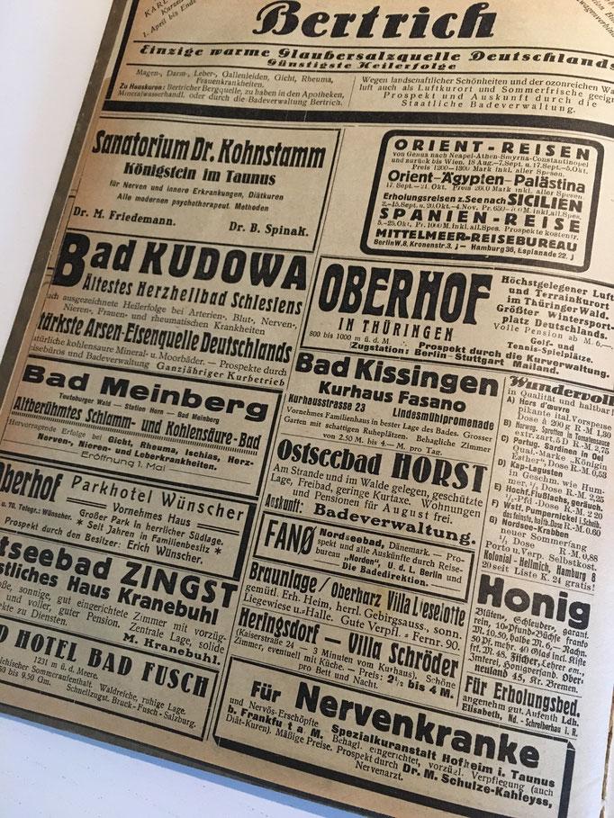 Werbung für Sanatorien - Heute nicht mehr üblich, zeigen sie doch, dass bereits vor 90 Jahren der Stress zu einem gesundheitlichen Problem werden konnte