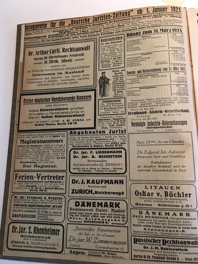 Damals wie heute: Die Anzeigen ausländischer Korrespondenzanwälte