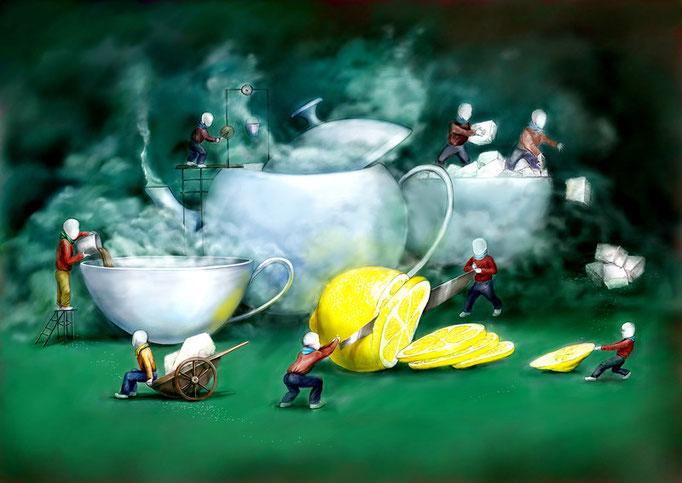 иллюстрация чай с сахором