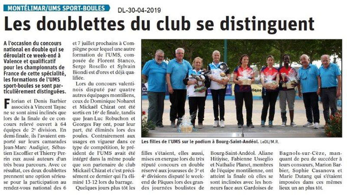 Le Dauphiné Libéré du 30-04-2019- UMS Sport-boules Montélimar