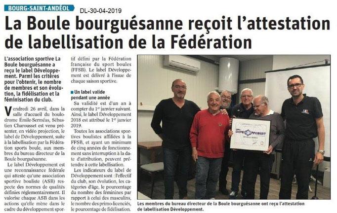 Le Dauphiné Libéré du 30-04-2019- La Boule Bourguésanne