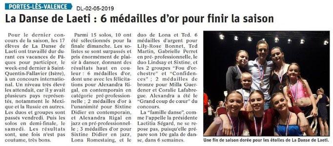 Le Dauphiné Libéré du 02-05-2019- La Danse de Laëti de PLV