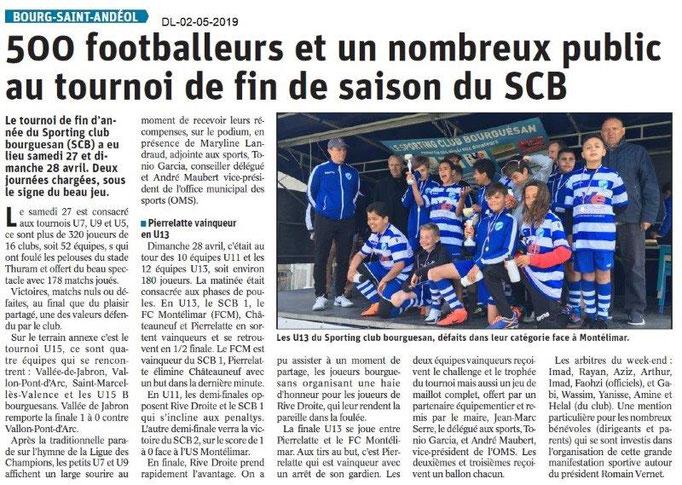 Le Dauphiné Libéré du 02-05-2019- Tournois de foot BSA