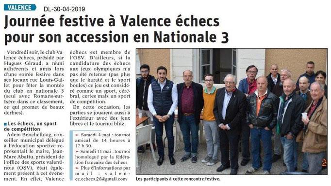 Le Dauphiné Libéré du 30-04-2019- Echecs de Valence