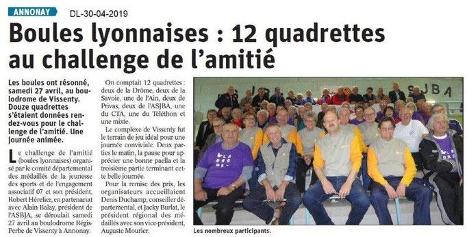 Le Dauphiné Libéré du 30-04-2019- Boules lyonnaises MJSEA AuRA à Annonay