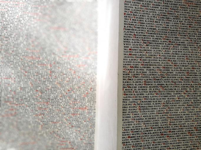 Namen der Opfer in der Pinkas-Synagoge