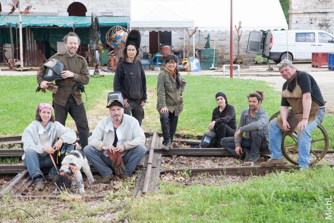 Les 8 artistes du symposium de sculpture métal aux Forges de Fraisans (Jura) du 8 au 14 mai 2016 © Michel LAURENT (MichL)