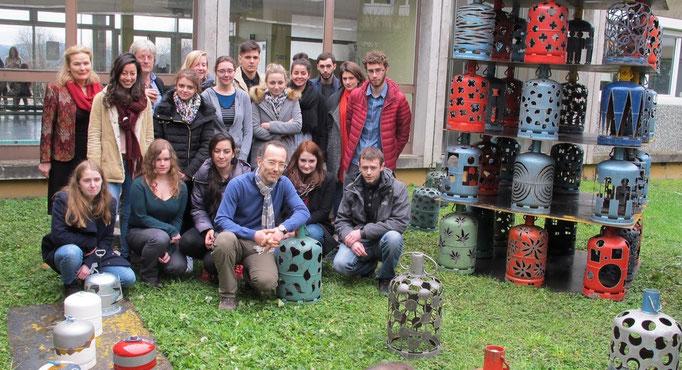 Avec les étudiants de la licence Traitement de surface à l'IUT de Besançon, suite à un coatching artistique... (set-oct 2015)