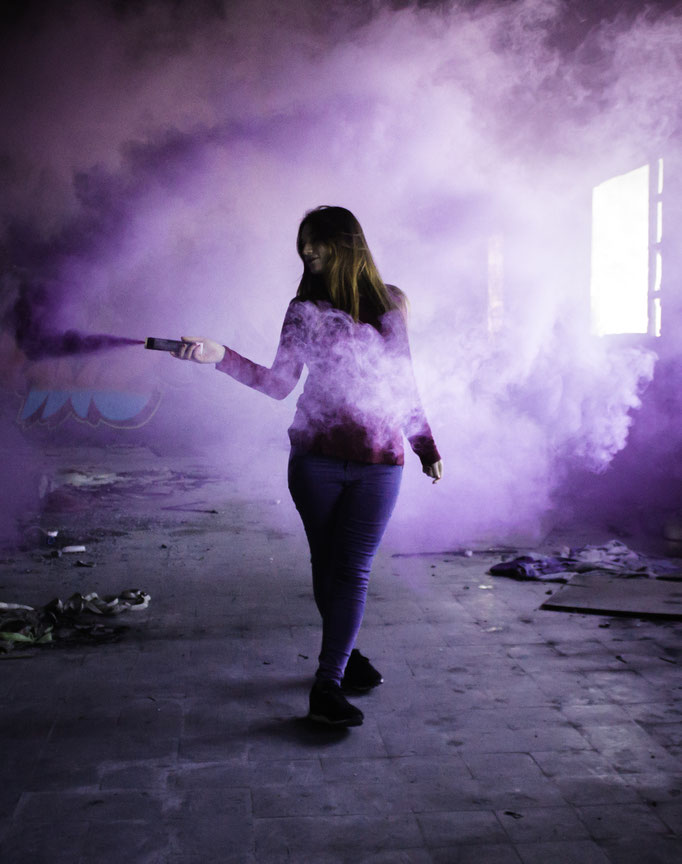 Alba in an abandoned factory in Mollet, Barcelona.