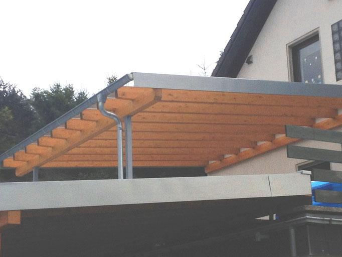 Glasüberdachung , BSH Holz, Titanzinkeinfassung vorbewittert