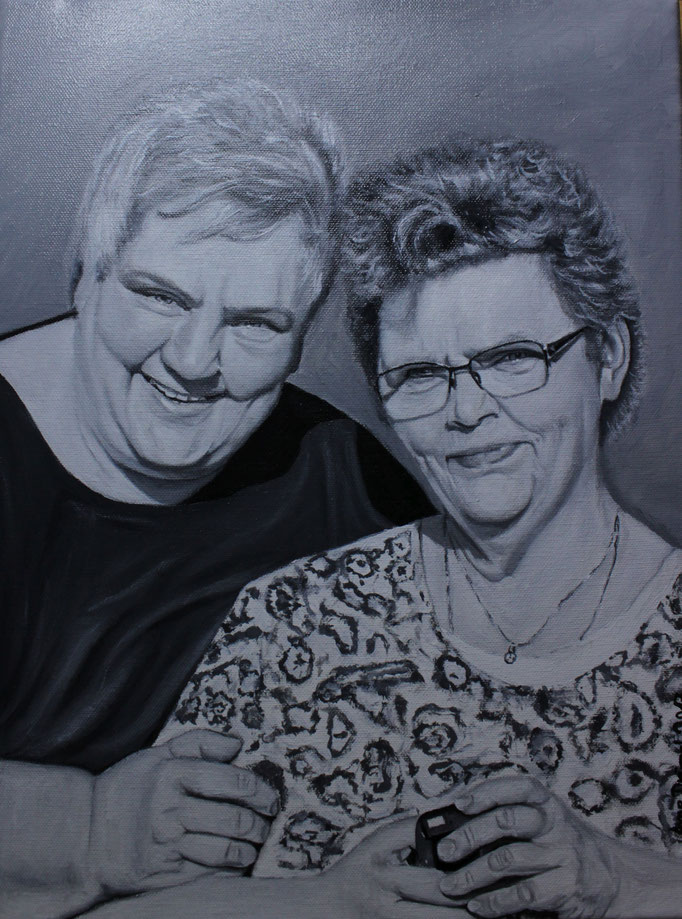 Ingrid und Gisela, Öl auf Leinwand, 30x40cm