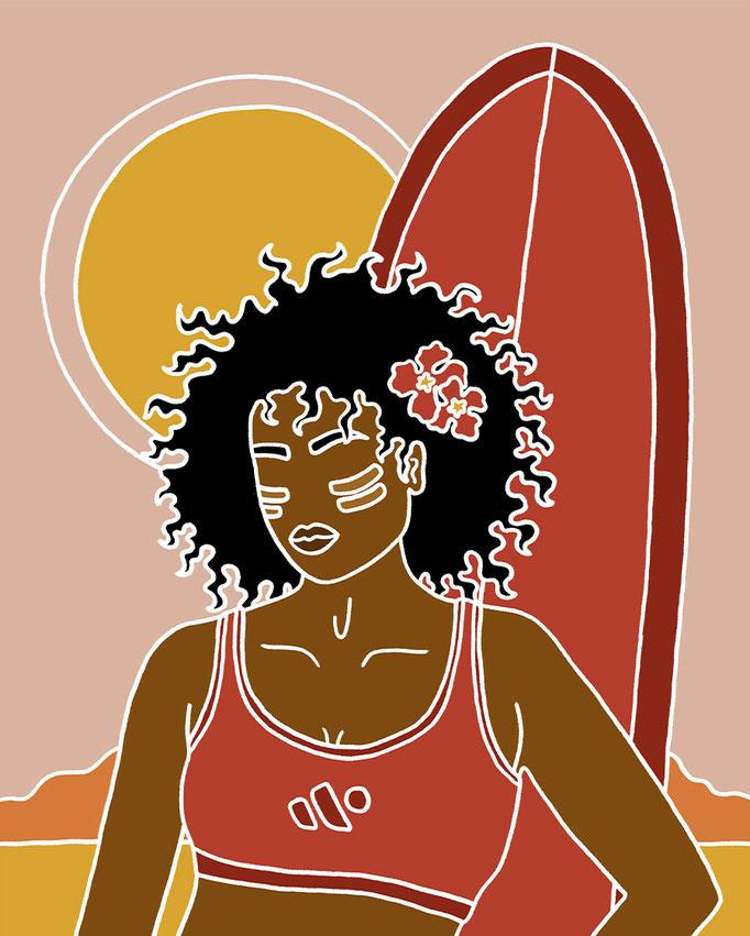 Portrait Illustration for Su&Earth Surfzinc