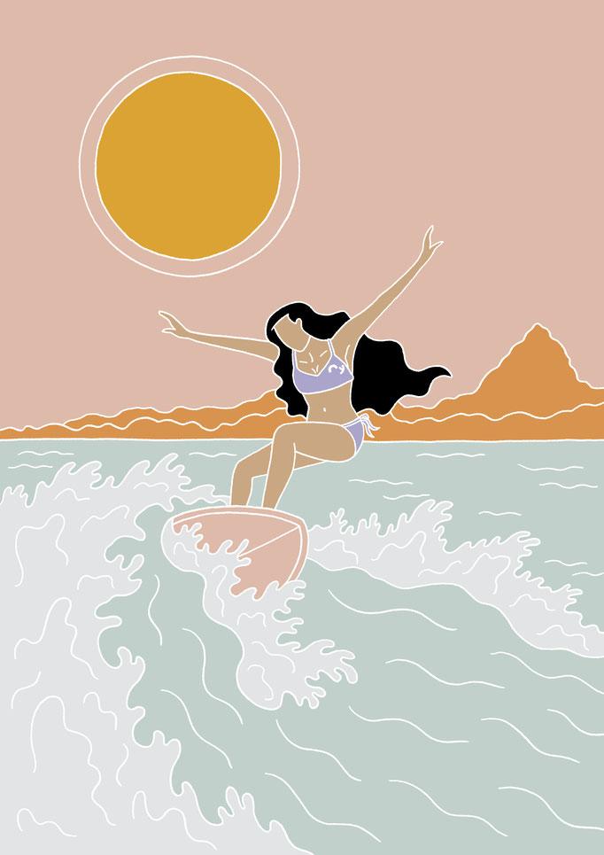 Postcard Illustration for OY Surf