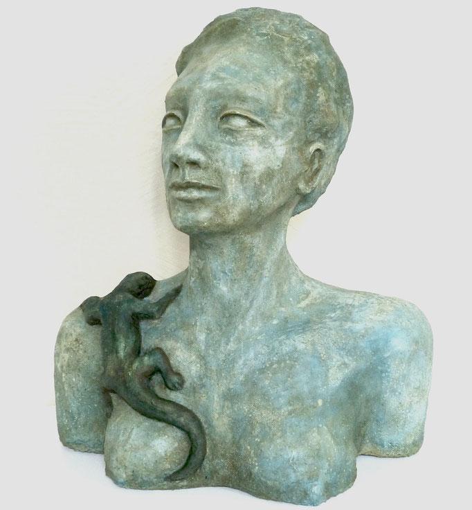 Donna con lucertola, 38 x 33 23 cm