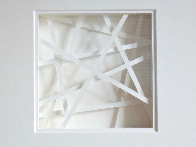 lines II - 2015 - Detail / PAPIER-art ART-papier, Papierbild aus einzelnen Papierschichten, weiß, Harald Metzler, Mattsee, Österreich
