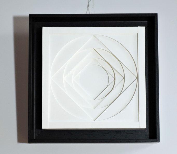 KreiDrat - 2015 - 18 x 18 cm / PAPIER-art ART-papier, Papierbild aus einzelnen Papierschichten, weiß, Harald Metzler, Mattsee, Österreich