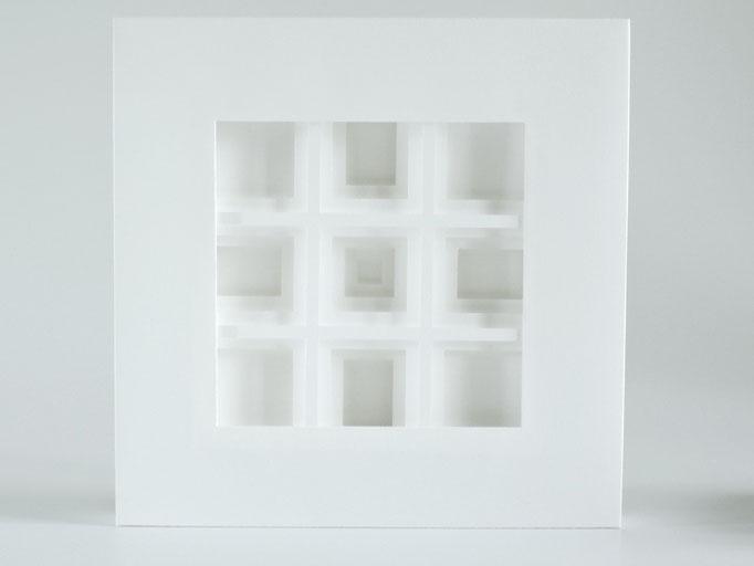 Quadro - 2015 - 20 x 20 cm / PAPIER-art ART-papier, Papierbild aus einzelnen Papierschichten, weiß, Harald Metzler, Mattsee, Österreich