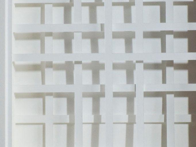 kariert - 2015 - Detail / PAPIER-art ART-papier, Papierbild aus einzelnen Papierschichten, weiß, Harald Metzler, Mattsee, Österreich