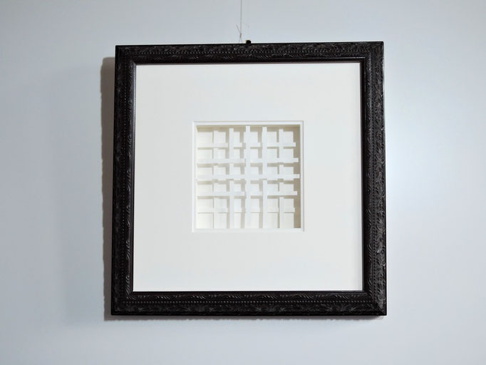 lines I - 2015 - 36 x 26 cm / PAPIER-art ART-papier, Papierbild aus einzelnen Papierschichten, weiß, Harald Metzler, Mattsee, Österreich