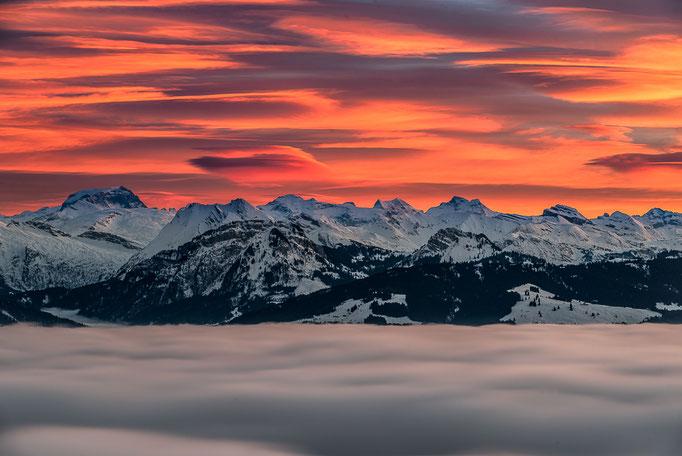 Tödi above clouds after sunset, Tödi über dem Nebelmeer