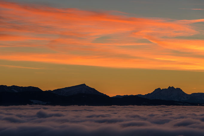 Rigi and Pilatus after sunset and above the clouds