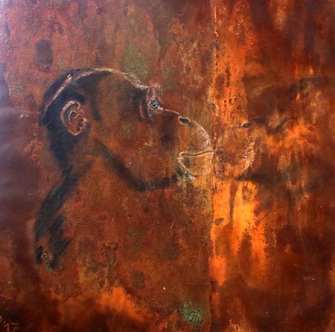 Affe gespiegelt, Öl auf Rost/Leinwand, 80x80 cm