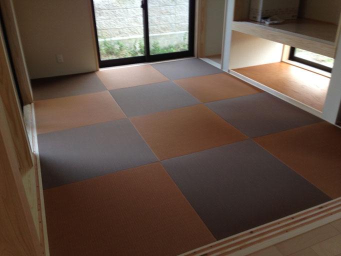 モダン和室 2色混色 半畳市松敷き