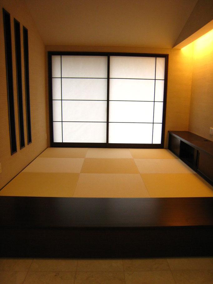 モダン和室 和紙目積表 黄金色